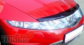 Мухобойка капота Хонда Цивик 8 хэтчбек (дефлектор на капот Honda