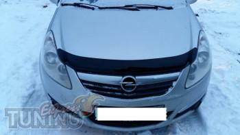 Мухобойка капота Опель Корса Д (дефлектор на капот Opel Corsa D)