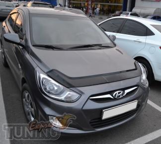 Мухобойка Хендай Акцент 4 (дефлектор капота Hyundai Accent 4)