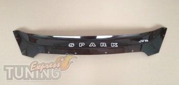 Дефлектор капота Шевроле Спарк 3 (мухобойка на капот Chevrolet S