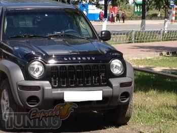 Дефлектор капота Джип Либерти 1 (мухобойка на капот Jeep Liberty