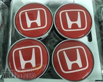 Купить колпачки в титановые диски Honda (Хонда) в красном цвете